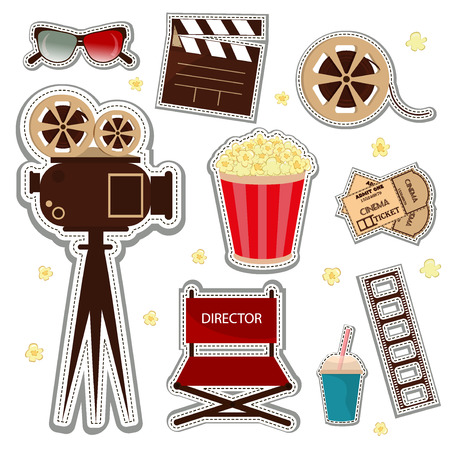 video reel: Vector cinema and watching movie icon set. Cinema patch icons entertainment video reel symbol. Film vector movie cinema patch icons design glasses set. Director chair popcorn and multimedia glasses.