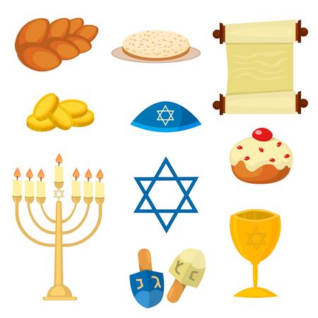 hebrew bible: Judaism church traditional symbols jewish icons set isolated vector. Various jewish symbols and items hanukkah celebration flat icons set isolated vector. Jewish icons church traditional religious.