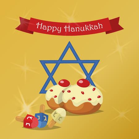 chanukkah: Hanukkah Typography Vector Design - Happy Hanukkah. Jewish holiday. Hanukkah Menorah on golden background. Happy Hanukkah greeting card design vector illustration. Tradition religion jewish holiday.