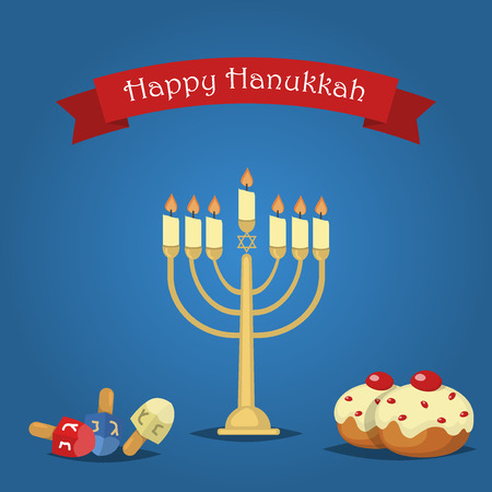 chanukkah: Hanukkah Typography Vector Design - Happy Hanukkah. Jewish holiday. Hanukkah Menorah on blue background. Happy Hanukkah greeting card design vector illustration. Tradition religion jewish holiday.