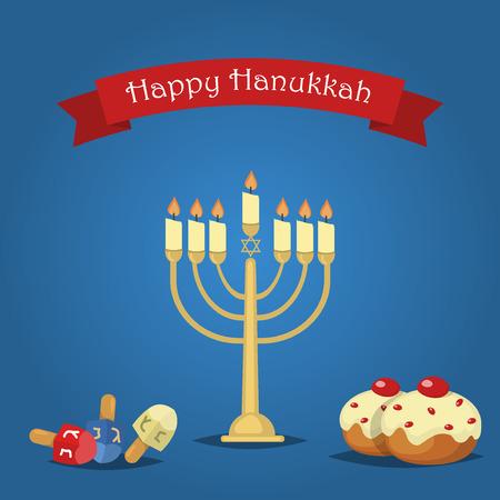 Hanukkah Typography Vector Design - Happy Hanukkah. Jewish holiday. Hanukkah Menorah on blue background. Happy Hanukkah greeting card design vector illustration. Tradition religion jewish holiday.