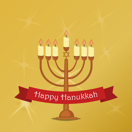 Hanukkah Typography Vector Design - Happy Hanukkah. Jewish holiday. Hanukkah Menorah on golden background. Happy Hanukkah greeting card design vector illustration. Tradition religion jewish holiday.