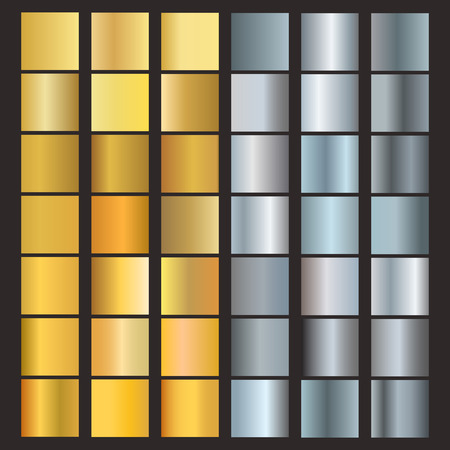 gradient: Set of silver and gold gradients. Metallic squares collection vector. Gold gradient set blank template graphic. Shiny golden and silver gradient set frame reflection steel various background.