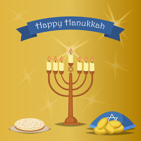 hannukah: Hanukkah Typography Vector Design - Happy Hanukkah. Jewish holiday. Hanukkah Menorah on golden background. Happy Hanukkah greeting card design vector illustration. Tradition religion jewish holiday.