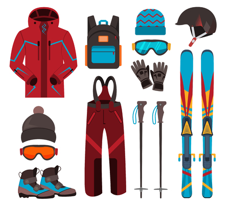 mountainside: Skiing equipment vector icons. Set skis and ski poles. Winter equipment icons family vacation, activity or travel skiing equipment. Winter sport mountain skiing cold recreation. Skiing equipment.