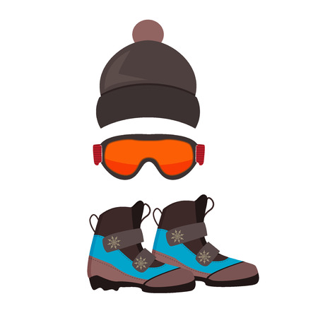 ski wear: Ski gloves, hat, goggles cartoon vector. Ski glasses or ski goggles skiing protective winter gloves. Winter ski gloves and ski glasses skiing accessory. Skiing hand gloves safety clothing equipment.