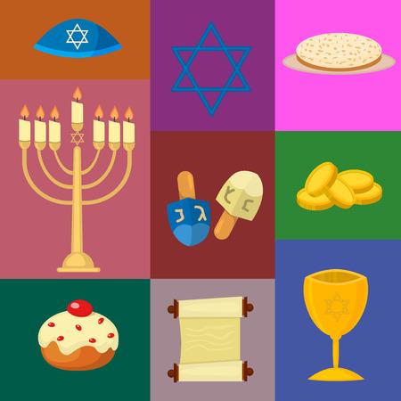 religious celebration: Judaism church traditional symbols jewish hanukkah set. Various jewish symbols and items hanukkah celebration flat icons vector. Jewish hanukkah church traditional religious.