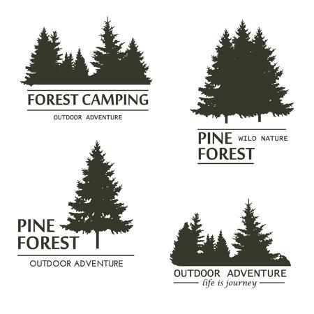 Fir bomen silhouet. Pijnboom hout tak natuurlijk bos silhouet. Trunk milieu bladverliezende naaldbomen silhouet vector. Forest groei seizoenen. Vintage bos design template. Vector Illustratie