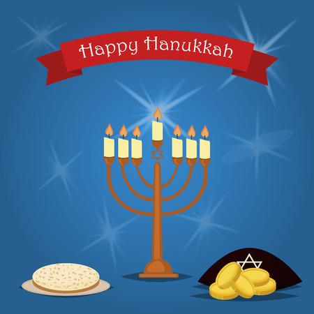 hanukka: Hanukkah Typography Vector Design. Jewish holiday. Hanukkah Menorah on blue background. Happy Hanukkah greeting card design vector illustration. Tradition religion jewish holiday. Illustration