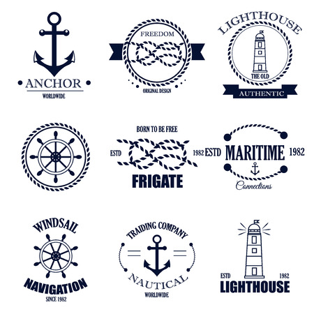 on the lookout: Set of vintage retro nautical badges and labels. Nautical badges anchor sea symbol. Traditional vector insignia style element nautical badges label design graphic illustration stamp.