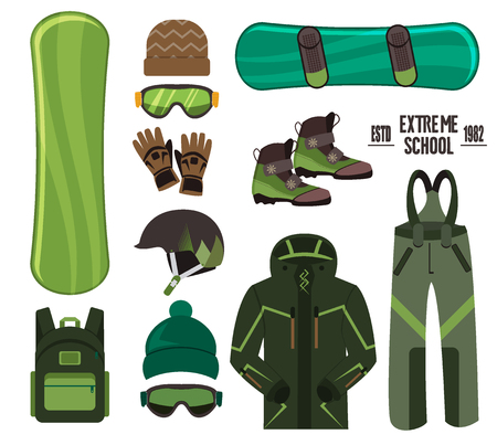 Snowboard with strap-in bindings and stomp pad. Snow extreme fast speed cool air equipment. Winter skier jump lifestyle. Active cold action ski board travel recreation adventure.