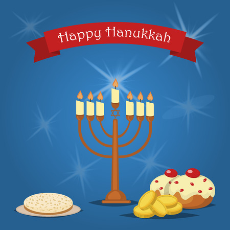 chanukkah: Hanukkah Typography Vector Design. Jewish holiday. Hanukkah Menorah on blue background. Happy Hanukkah greeting card design vector illustration. Tradition religion jewish holiday. Illustration