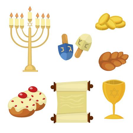 Judaism church traditional symbols jewish hanukkah set. Various jewish symbols and items hanukkah celebration flat icons vector. Jewish hanukkah church traditional religious.