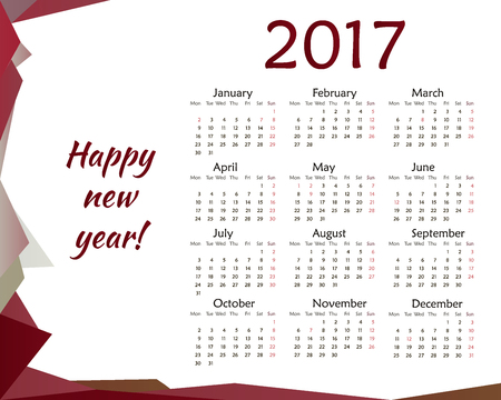 Simple Calendar For 2018. Vector Template Design Monthly Date ...