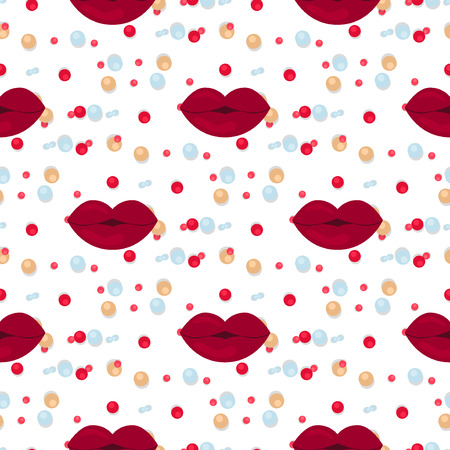 Vector seamless background lips prints