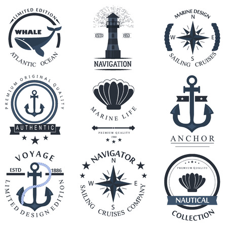 on the lookout: Set of sea and nautical decorations isolated on white background. Collection of elements for company  , business identity anchor retro badge and web decor or other design. Vector nautical  .