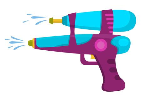 water: Water gun isolated. Plastic water gun songkran festival squirt gun. Water gun pistol on white. Water pistols water spray vector toy gun. Water gun flat set for water fights.