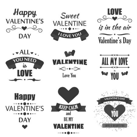Valentines Day Badges Heart Icons Symbols Illustrations And
