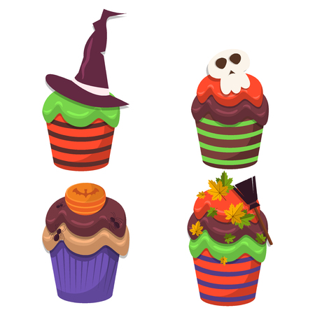 Cupcake vector set. Happy Halloween Scary Sweets.