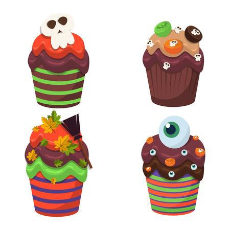 Cupcake vector set. Happy Halloween Scary Sweets.