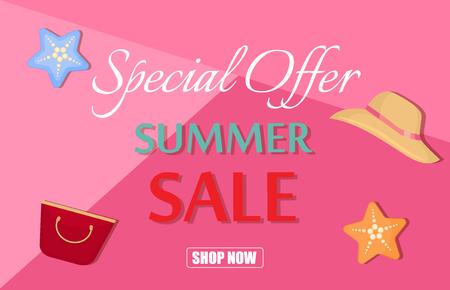 Summer sale template banner vector illustration.