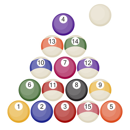 Billiards balls collection pool or snooker balls with cue ball isolated on white background vector illustration. Illustration
