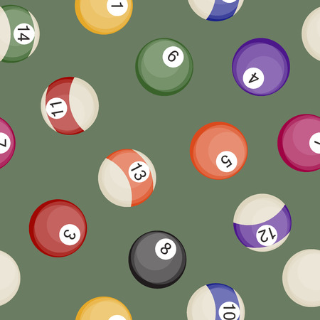 fifteen: Billiards balls seamless pattern pool or snooker balls with cue ball vector illustration.