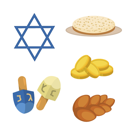 Judaism church traditional symbols icons set isolated illustration