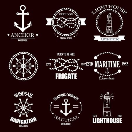 Set of vintage retro nautical badges and labels. Stock Photo