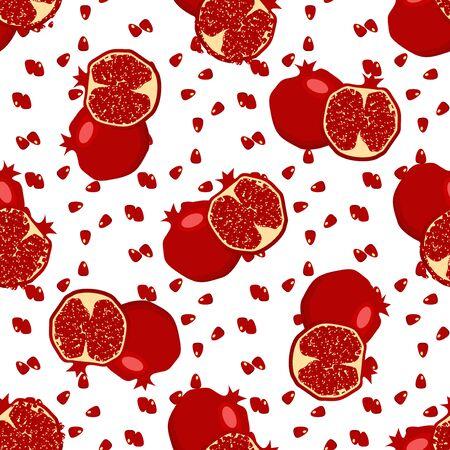 Red fresh pomegranate pattern . Stock Photo