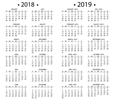 simple calendar for 2018 and 2019 years template date day design month business organizer planner vector