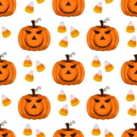 Halloween seamless pattern vector background holiday horror wallpaper cartoon spooky autumn decoration illustration.