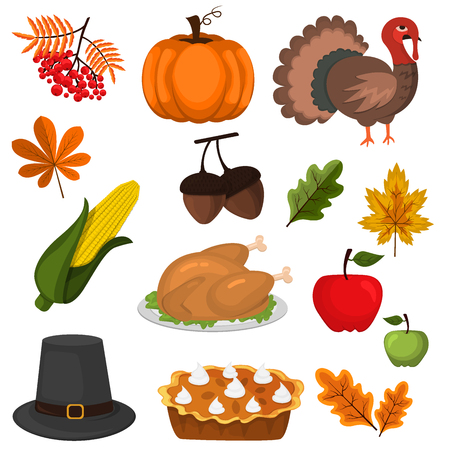 Happy Thanksgiving Celebration Design cartoon autumn greeting harvest season holiday icons vector illustration. Traditional food dinner seasonal thanks giving poster.