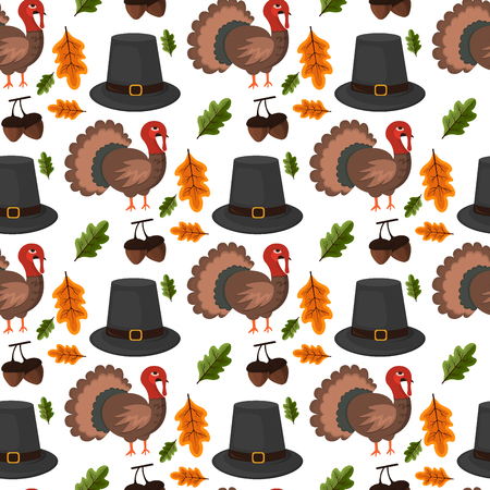 Happy Thanksgiving Celebration Design cartoon autumn greeting harvest season holiday seamless pattern background vector illustration.
