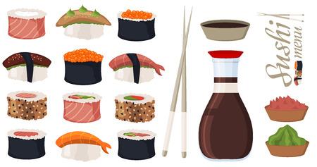 Sushi rolls set sashimi seafood fish rice japanese food fresh soy sauce japan meal maki raw shrimp restaurant traditional asian cuisine vector illustration. Gourmet healthy wasabi seaweed appetizer.