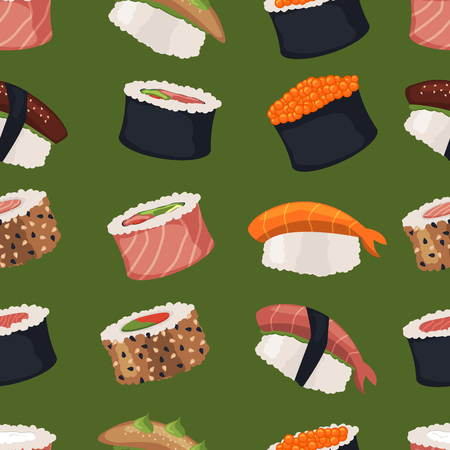 Sushi rolls set sashimi seafood fish rice. Illustration