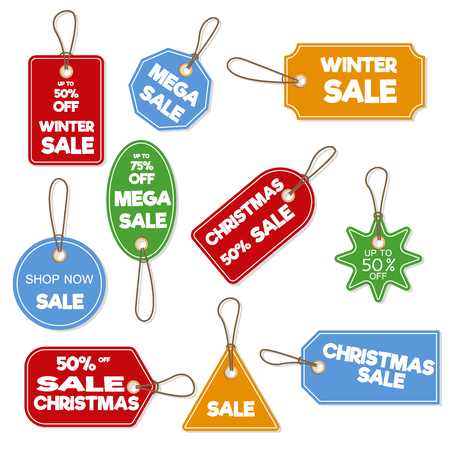Christmas sale paper tag vector illustration. Illustration