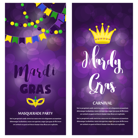 Mardi Gras carnival party vector background masquerade celebration festival poster design holiday purple brochure. Venetian mardi gras mask with feathers beads, joker, fleur de lis party decorations. Illustration