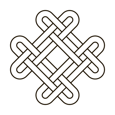 Celtic knot geometric ancient cross tribal vector knotted illustration. Knot work Gaelic tattoo knotty ornament, geometrical black knit.