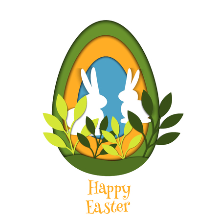 Easter egg card vector banner background cut out. Spring template paper art origami illustration creative holiday decoration rabbit festive poster. Illustration