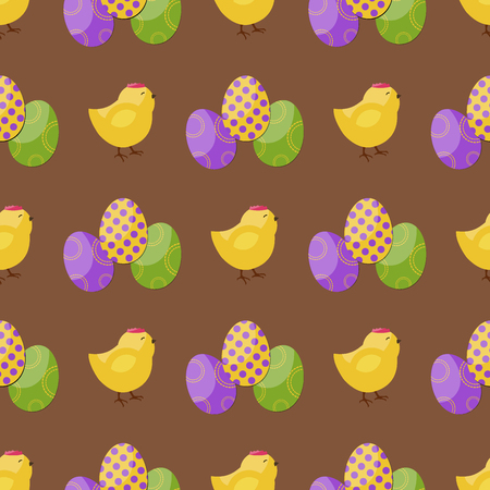 Easter vector cartoon seamless pattern background. Holiday decoration spring celebration traditional greeting symbols.