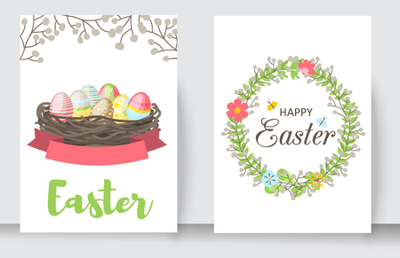 Easter cards vector cartoon characters and invitation banner design holiday decoration spring celebration traditional greeting symbols. Easter bunny, chickens, eggs and flower illustration. Stock Illustratie