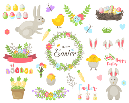 Easter cartoon design elements background