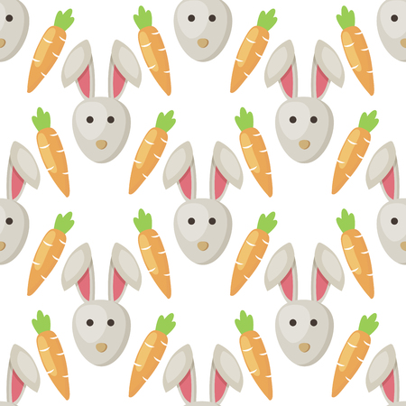 Easter bunny with carrots cartoon seamless pattern background