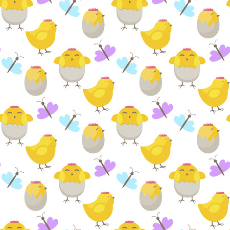 Easter symbol cartoon seamless pattern background