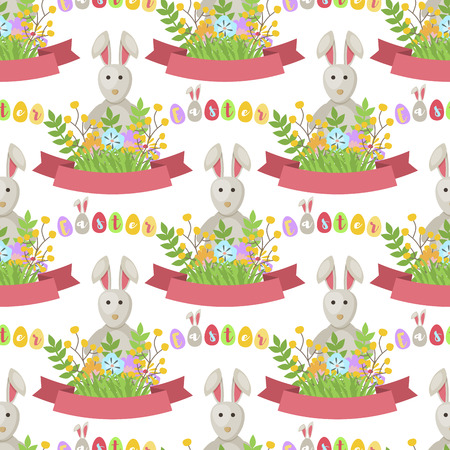 Easter bunny vector seamless pattern background template