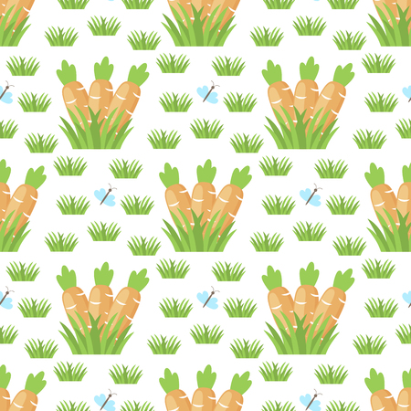 Easter carrot vector seamless pattern background template