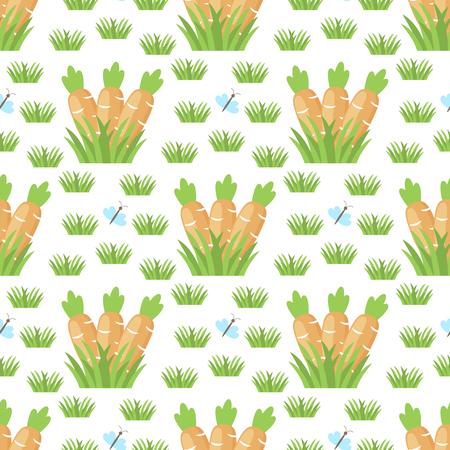 Plantilla de fondo de patrones sin fisuras de vector de zanahoria de Pascua Foto de archivo - 97692423