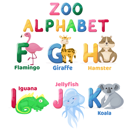 Zoo alphabet animal letters cartoon cute characters isolated different educational vector english abs kid letter illustration. Learn typography teach card education preschool language. Illustration
