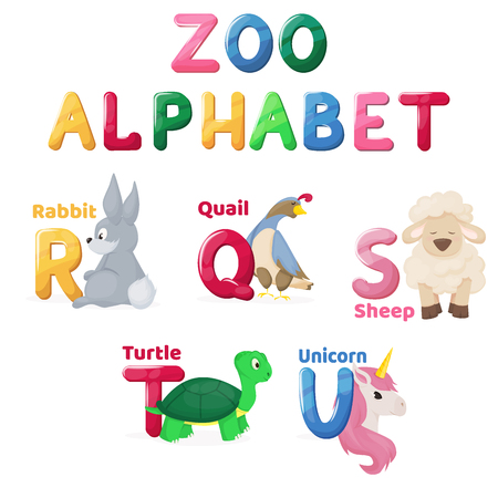 Zoo alphabet animal letters cartoon cute characters isolated different educational vector english abs kid letter illustration. Learn typography teach card education preschool language. Ilustração